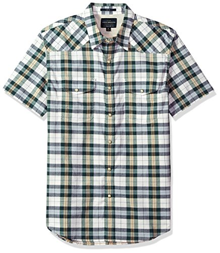 Lucky Brand Men's Short Sleeve Plaid Western Button Down Shirt in Green Multi, Natural/Green, XL by Lucky Brand
