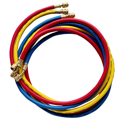 "Wostore AC Refrigerant Charging Hoses,1/4"" Standard Hoses for R12,R22,R502-72"" HVAC,Set of 3"