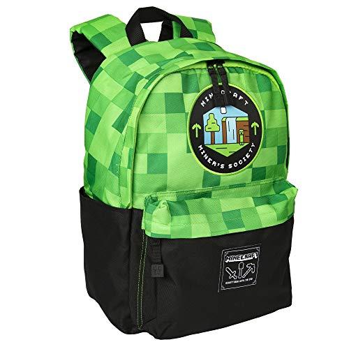 JINX Minecraft Miners Society Kids School Backpack, Green, 16