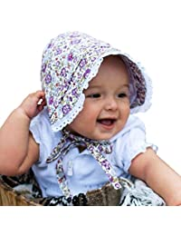 Baby Girls Seersucker Or Flower Print Bonnet with Eyelet Lace in 4 Color Choices