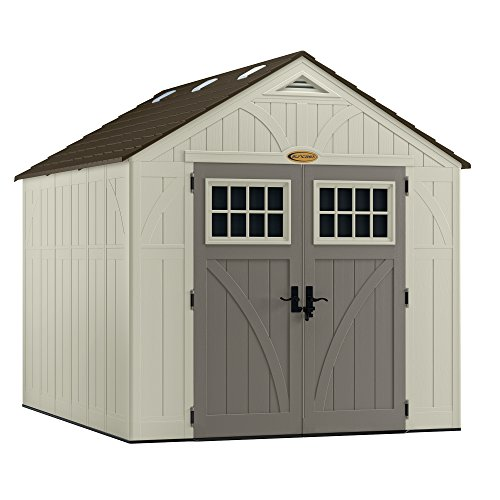 (Suncast 8' x 10' Tremont Storage Shed - Outdoor Storage for Backyard Tools and Accessories - All-Weather Resin Material, Transom Windows and Shingle Style Roof)