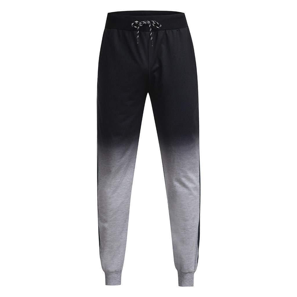 LUKALUKADA Fashion Mens Pants Mens Outdoor Packwork Graduated Black Splicing Drawstring Trousers Pants by LUKALUKADA