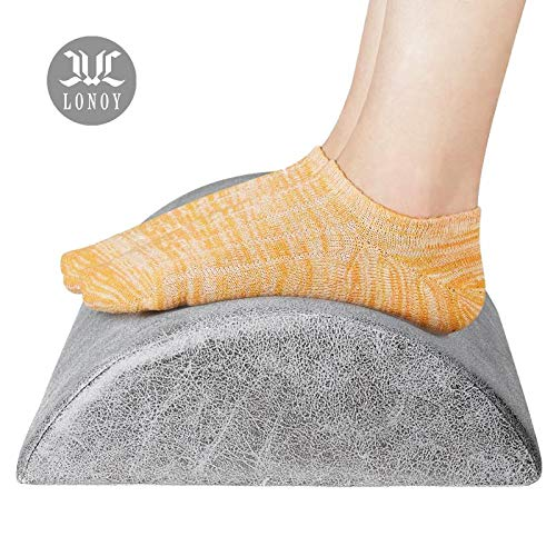 (LONOY Ergonomic Foot Rest Under Desk,Premium Leathaire Soft Foam Footrest for Desk,The Most Durable Materials Desk Foot Rest for Office,Home,Travel,Most Comfortable Foot Stool Rocker.(Gray))