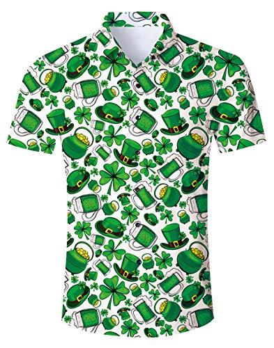 RAISEVERN Men's Button Down Shirts Slim-fit Short Sleeve Dress Shirt Casual Hawaiian Summer Aloha Beach Shirts for Holiday
