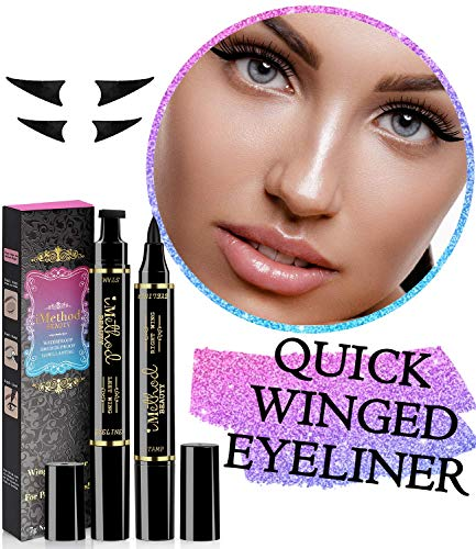 iMethod Wing Eyeliner Stamp - 2 Pens Left & Right Dual Ended Liquid Winged Eye Liner Pen, Perfect Winged Cat Eye Look, Waterproof, Smudgeproof and Sweatproof, Vamp Style Wing, No ()