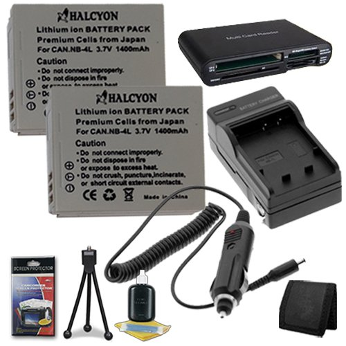Two NB4L Lithium Ion Replacement Batteries w/Charger + Memory Card Reader/Wallet + Deluxe Starter Kit for Canon PowerShot Elph 100 HS 300 HS, SD1000 IS, SD1400 IS, SD200, SD300, SD40, SD400, SD430, SD450, SD600, SD630, SD750, SD780 IS, SD940 IS, SD960 IS,