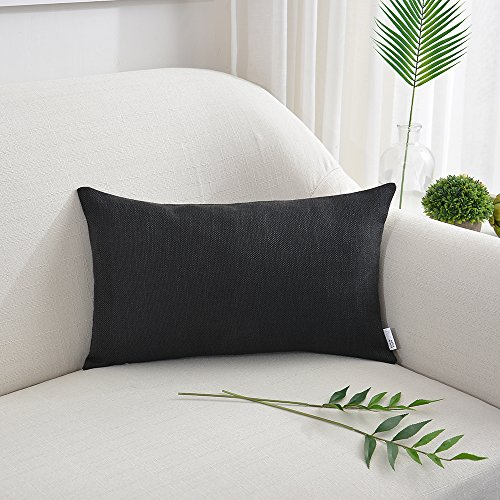 """NATUS WEAVER Decorative Blended Linen Throw Pillow Cover Lumbar Rectangular Cushion Covers for Chair Couch Bench, 12"""" x 20"""" inch, Black"""