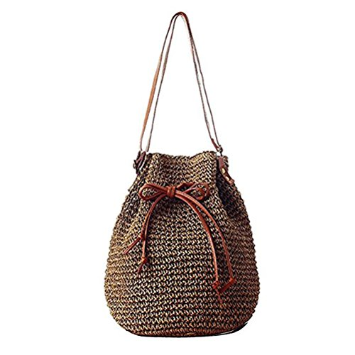 Bag Drawstring Bag Beaded D Abuyall Pompom Bag Straw Bamboo Shoulder Large Woven Small Hollow Straw Ball Hobo Out Hasp Handle Bucket pvgqSHn