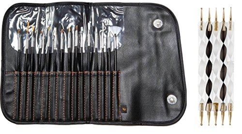 AMAZING OFFER!!! The Most Luxurious Nail Art Set Available With 5 GOLD PLATED Dotting Tools (Exclusive to Cheeky) With 10 Different Dot Sizes and Nail Art Brush Set of 15 Different Nail Brushes By Cheeky.
