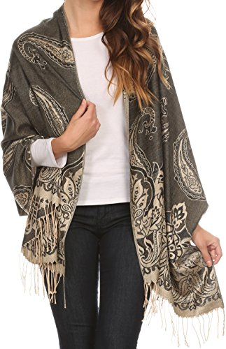 Sakkas 16115 - Kendall Long Extra Wide Floral Paisley Patterned Pashmina Shawl / Scarf - Black / Beige - OS