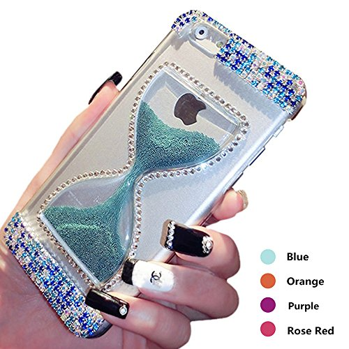 iPhone 6 Plus Bling Case,Fuzzy Green Limited Hot Fashion 3D Flowing Caviar & Quicksand & Hourglass Design with Diamond Transparent Clear Hard Case Cover for Apple iPhone 6 Plus 5.5 inch - - Medium Hard Dark Green
