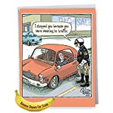"J2582BDG Jumbo Humorous Birthday Greeting Card: Weaving in Traffic; With Envelope (Extra Large Size: 8.5"" x 11"")"