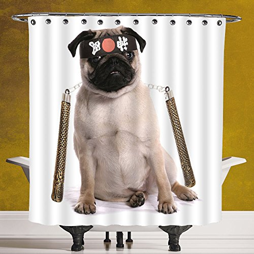 Decorative Shower Curtain 3.0 by SCOCICI [ Pug,Ninja Puppy with Nunchuk Karate Dog Eastern Warrior Inspired Costume Pug Image Decorative,Cream Black Gold ] Waterproof Polyester Fabric Decorative - Do It Ninja Costume Yourself