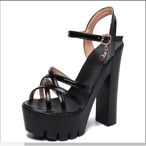 9834e4d5736f Summer Platform Sandals Popular Women s Shoes Thick Heel Shoes(Black 36 5.5  B(