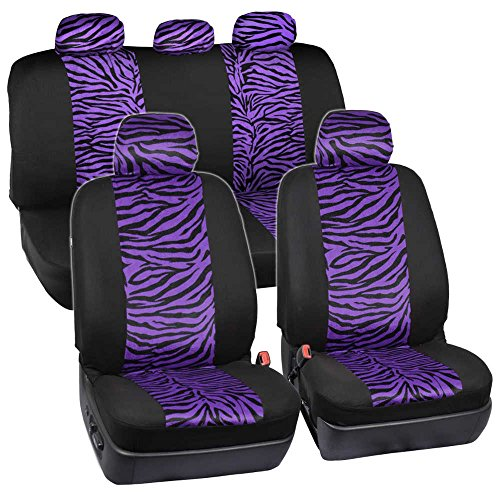 ComfySeats Velvet Animal Car Seat Covers Two Tone Purple Zebra Accent On Black 9pc