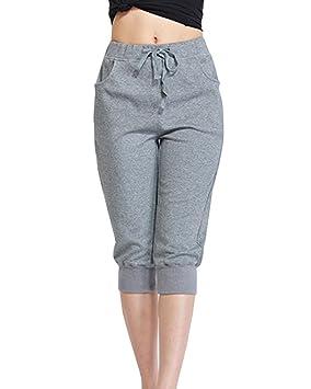 Mujer Anchos Casuales Sport Jogging Yoga Deportes Pantalones Cortos Capri  Pantalon Harem Tallas Grandes Gris M  Amazon.es  Deportes y aire libre c06a75a04ac0