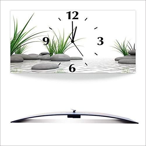 Artland 3D analoge Wand-Funk- oder Quarz-Uhr Digital-Druck auf Alu weiß mit Motiv Sebastian Kaulitzki 3 D Steine Wellness Zen Stein Fotografie Natur D3BF
