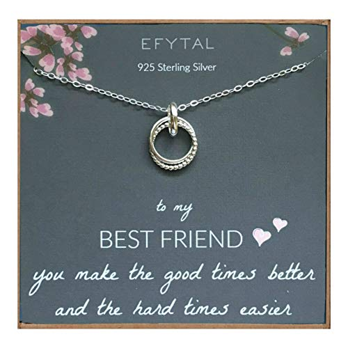 EFYTAL Best Friend Gifts, Sterling Silver Studded Ring Interlocking Infinity Circles Necklace, Friendship Necklaces, Jewelry Gift for BFF