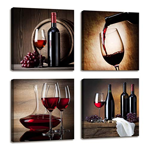 Red Wine Cups HD Modern Dining Room Wall Decor - 4 Panels Framed Art Abstract Giclee Canvas Prints Artwork Contemporary Vintage Pictures Paintings Canvas Print Wall Art for Home Kitchen Decorations