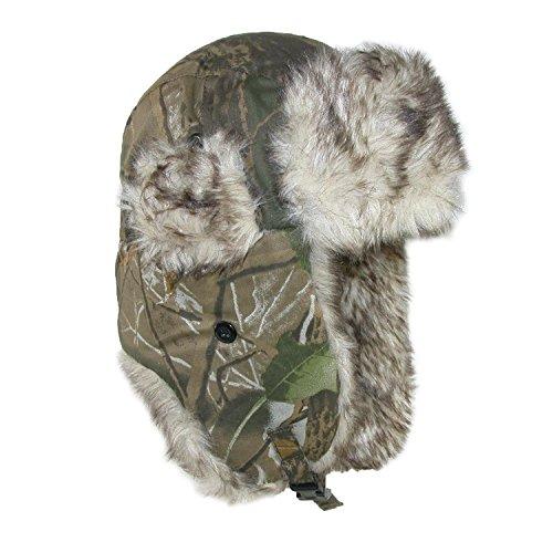 CTM Men's Camo Winter Aviator Hat with Ear Flaps, Medium/Large, Camo