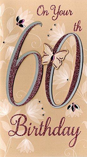 Happy 60th Birthday Hand-Finished Female Champagne Range Greeting Card