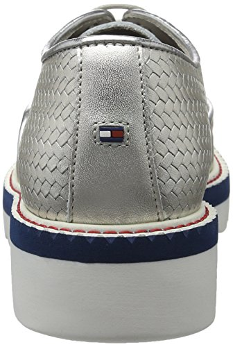 Tommy Hilfiger P1285aulina 2a1, Zapatos de Cordones Derby para Mujer, Plateado (Light Silver 041), 40 EU