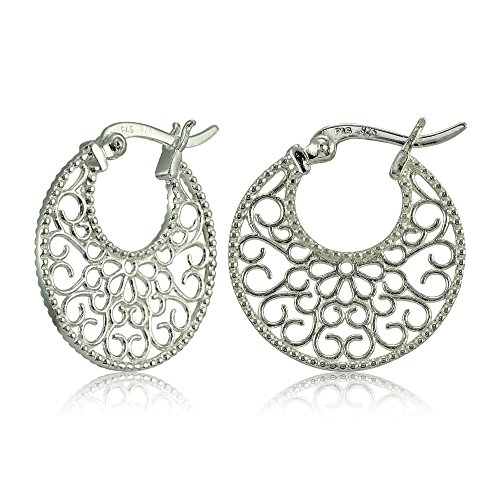 Sterling Silver High Polished Medallion Filigree Round Flat Earrings (Medallion Filigree)