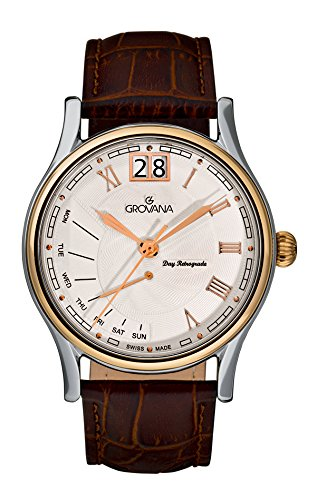 Grovana Men's 1729-1552 Retrograde Analog Display Swiss Quartz Brown Watch
