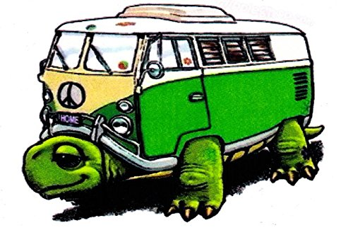 Volkswagon vw Stickers for Cars Trucks Hippies Green Turtle Decal (Hippie Green)