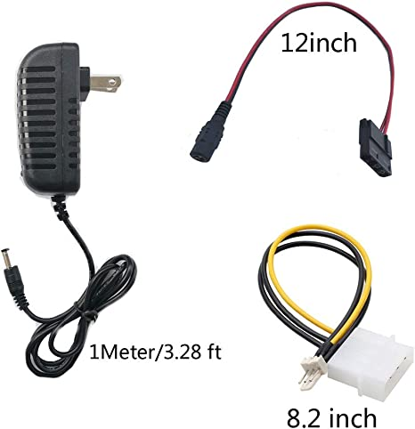 4 pin to 3 pin Delinx DC 12V 2A Power Adapter PC Fan Power Supply 3 pin 4pin Molex Cable Connector