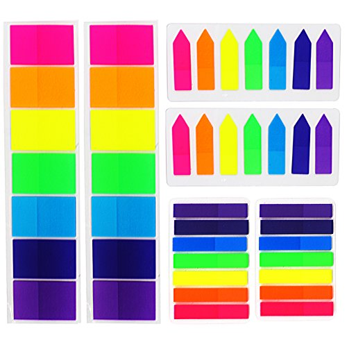 Dreecy 840 Pieces Colored Sticky Flags Notes Index Tabs - Book Sticker Tabs Writable Labels Page Marker Bookmarks Text Highlighter Strips,3 Sizes,6 Set