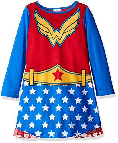 DC Comics Big Girls' Wonder Woman Hero Long Sleeve Dorm with Cape - 7-8 - Blue/Red (Dc Clothing For Kids compare prices)