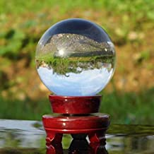 Auntwhale Crystal Ball Glass Sphere Display Photography Decor Ball with Wooden Stand for Home Wedding Office Decoration