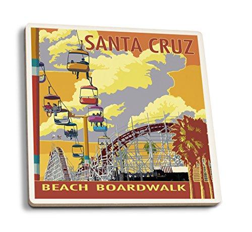 Lantern Press Santa Cruz, California - Beach Boardwalk (Set of 4 Ceramic Coasters - Cork-Backed, Absorbent)