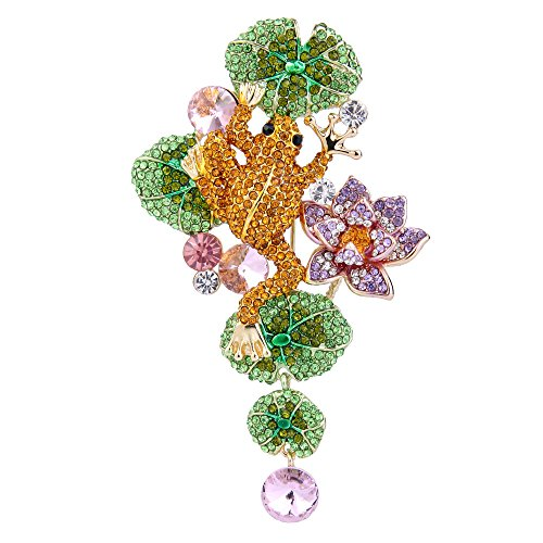 (EVER FAITH Austrian Crystal Lovely Frog Lotus Flower Leaf Brooch Brown w/Green Gold-Tone)