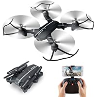8807W Foldable Drone with Altitude Hold Headless Mode 6-Axis Gyro One Key Return Wifi FPV RC Quadcopter with Wide-angle 720p 2MP Camera - CreaTion