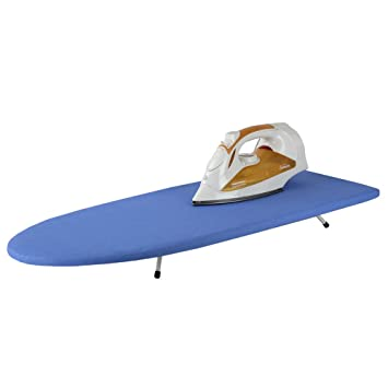Sunbeam Tabletop Ironing Board With Folding Legs And Removable Blue Cover