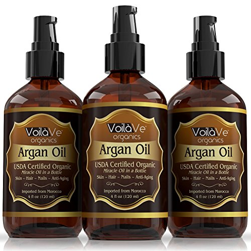 Organic Beauty Products >> VoilaVe Virgin USDA & ECOCERT Certified Organic Moroccan Argan Oil for Skin, Hair & Nails—Cold ...