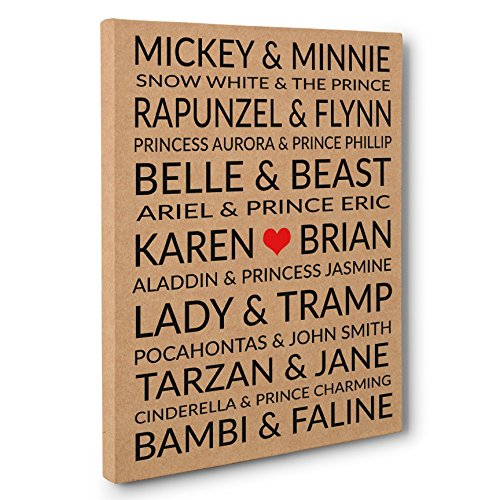 Famous Disney Couples Personalized Wedding Anniversary Gift CANVAS Gallery Wrap]()