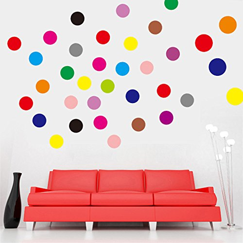 """Ferris Store 102pcs Colorful Circles Polka Dots PVC Wall Graphic Decals Stickers 24.4x11.8"""""""
