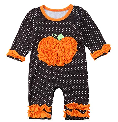 Baby Boy Girl Long Sleeve Halloween Romper Baby Costumes Jumpsuit Pumpkin Ruffle Sleeve Sleepwear Pajama (6-12Months, Orange) -