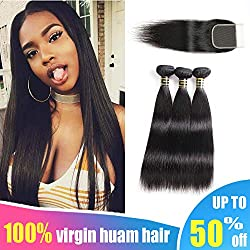 Aodai Brazilian Virgin Hair Straight with Closure 4x4 Free Part Brazilian Straight Human Hair Bundles with Closure Natural Black (10 12 14+10)