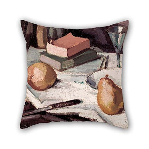 The Oil Painting Samuel John Peploe - Still Life With Pears And Wineglass Pillowcover Of 20 X 20 Inches / 50 By 50 Cm Decoration Gift For Girls Divan Valentine Outdoor Him Drawing Room (twice Side