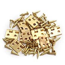 KING DO WAY 12Pcs Mini Copper Hinges With Nails For 1/12 Dollhouse Miniature Furniture