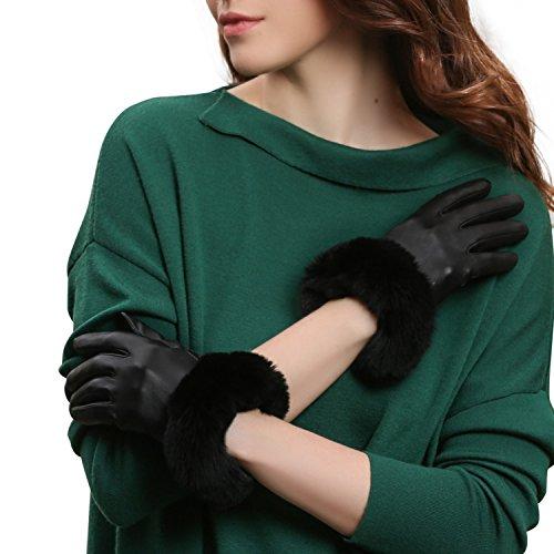GSG Womens Hi-tech Touchscreen Italian Nappa Leather Driving Gloves Ladies Genuine Rex Rabbit Fur Gloves M Black-HI by GSG (Image #1)