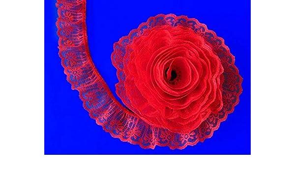 Bulk Lace~50 Yards Pink 1 1//4 Inch Wide Ruffled Candlewick Lace Trim