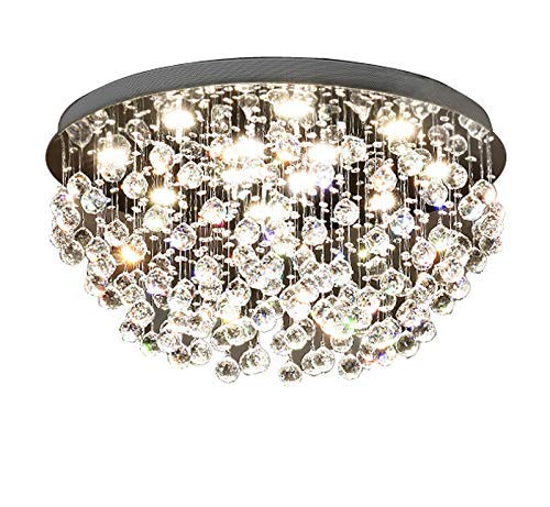 - Saint Mossi Modern K9 Crystal Chandelier Lighting Flush Mount LED Ceiling Light Fixture Pendant Chandelier for Livingroom 12 GU10 Bulbs Required Width 28 inch x Height 16 inch