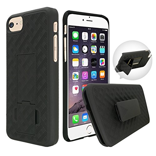 Customefirst iPhone 7 small Black Hard Shell Case Combo, Cover Holster Belt Clip with Kickstand for iPhone 7 Did Not Fit Iphone 7 Plus FREE Flash Keychain