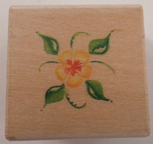 Ek Success Image Tree Flower Water Color Style Wooden Rubber ()
