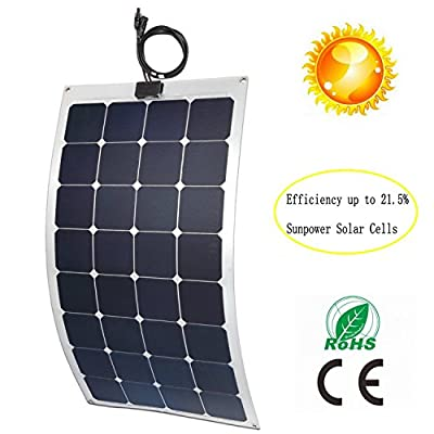 GreeSonic SunPower Semi Flexible Solar Panel 100W (ETFE+Aluminum) Photovoltaic Solar Panel (Thermostable) with MC4 connectors